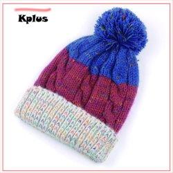 Navidad tejida de lana liso personalizado Ski Beanie\Cap\Hat para el invierno de la ejecución de la lana en blanco