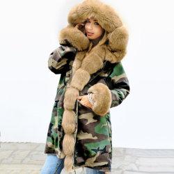 2019 Manier Manchet 100% van Dame Outwear Real Fox Fur Kraag de Echte Overjas van de Bontjas van Shearling van Schapen voor Vrouwen