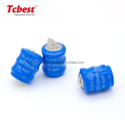 3.6V Pak van de Batterij van NiCd van de Batterij van de Cel van de Knoop Ni-CD van 60mAh het Navulbare met het Solderen van Spelden voor Draadloze Oortelefoons