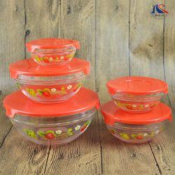 5pcs bol Set Food Storage Salade de verre rondes bols avec couvercles en plastique