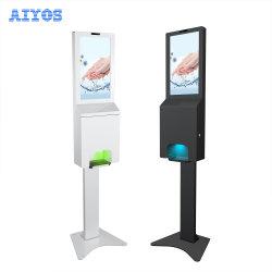 [Fábrica Original] 21,5 polegadas Preto Branco dispensador automático de sabão lado Sanitizer Quiosque Digital Signage LCD W/Purificador Baixa do Sensor de alarme