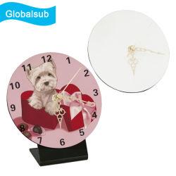 Horloge en bois blanc Globalsub MDF avec votre image de l'impression