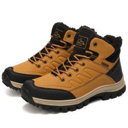 Водостойкий обуви из натуральной кожи для походов спорта зимой зерноочистки теплый снег на открытом воздухе загружается Противоскольз. и износостойкими для мужская обувь
