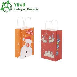 Bolsas de papel Kraft de Navidad mediano con asa, surtido de Navidad, Impresiones de cotillón