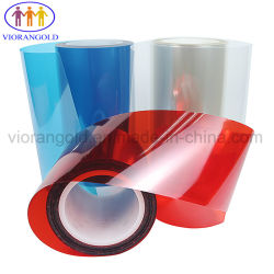 25-125rojo de la película protectora de animales de compañía micras con adhesivo de silicona para proteger la pantalla de vidrio plástico