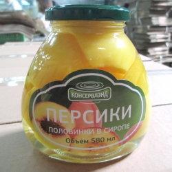 В области здравоохранения Китая консервированных продуктов питания желтый персик свежих фруктов в стеклянный кувшин 580мл