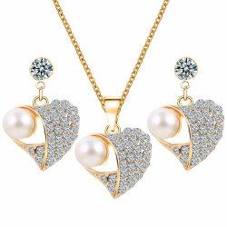 Fashion Charm Perle Strass CZ Zirkon Silber Ohrring Halskette Schmuck Setzen