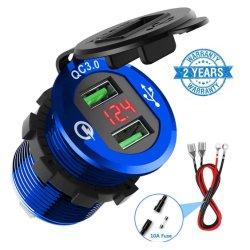 Быстрая зарядка 3.0 автомобильного зарядного устройства, Chgeek 12V/24V 36W водонепроницаемый двойной QC3.0 быстрое зарядное устройство USB разъем розетки питания со светодиодным индикатором цифрового вольтметра