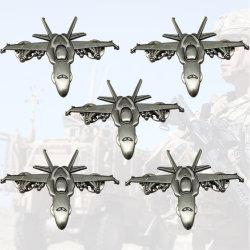 Venda por grosso de disco personalizada de fábrica o emblema de carro do esmalte Prêmio 3D modelo de aeronave militar loja de artesanato artístico de metal dos pinos de lapela Emblema Logotipo Star para acções de promoção (LP26-C)