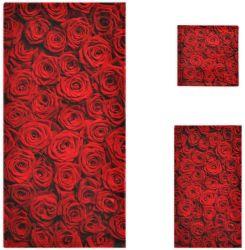 Rosas vermelhas Imprimir luxo suave toalha decorativa / Conjunto de toalhas de rosto 100% de algodão