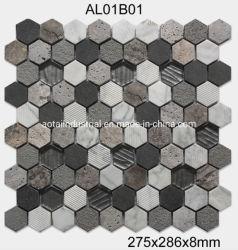 High-End Marmeren Mozaïek van de Tegel van de Vloer van de Kleur van de Mengeling van het Ontwerp Hexagon