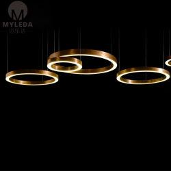 Moderno Anillo de Latón Antiguo araña de luces LED de metal para proyecto hotelero