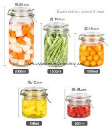 台所使用のゆとりのガラス記憶は瓶の容器によって密封された鍋500ml 750ml 1L 1.5L 2Lを缶詰にした
