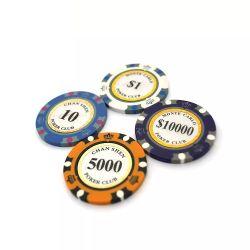 Lehm-Schürhaken-Chips des Kronen-Muster-13.5g für spielendes Spiel-kundenspezifisches Kasino-Tisch-Spiel