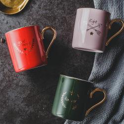 Autocollant logo personnalisé impression de tasse de café glaçure ronde en céramique