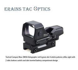 전술적 사냥용 소총 범위 2면이 있는 새로운 3모아 버튼 스위치 및 측면 삽입 배터리 함 디자인 홀로그램 레드 그린 도트 반사 표시(&G
