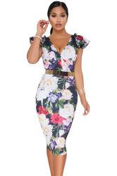 OEM の注文の方法夏の花の印刷物の女性ボディコン MIDI 花 ドレス