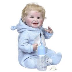 طفل مولود جديد 55 سم طفل ولد حديثاً دوليل بلوند ابتسامة شعر سعيدة طفل من حريات اللمسة الحقيقية الناعمة الملمس يدويا اللوحة المفصلة