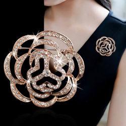 Пользовательский логотип алмазов моды Flower Brooch Corsage контакт