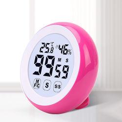 Tecla de toque a humidade interior com temperatura temporizador digital e iluminação de fundo