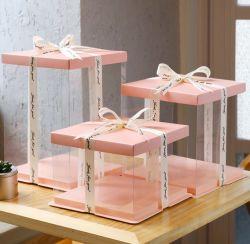 تغليف بلاستيكي شفاف مخصص بكعكة زفاف للحيوانات الأليفة شفافة صندوق التعبئة PP البلاستيك عيد الميلاد مربع حزمة تخزين كعكة
