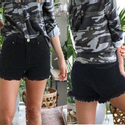 Senhoras curto jeans apertados Pele Curta Esfarrapado Hem denim das mulheres de cintura elevada curtos