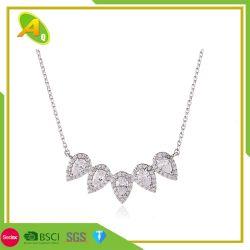 Elemento de gotículas Microset cobre Colar Zircon Pendente simples colar estilo europeu e americano jóias irregular das mulheres colar de travamento (08)