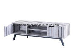 Madera Unihomes Gabinete de la consola de soporte de TV Mesa con 2 niveles Bandeja de almacenamiento y armario para el hogar Muebles de Salón Blanco Gris