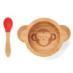 Echelon Organic Bamboo Bowl Cadeauset Baby Animal Shape met Blijf op de plaats geen gemorste zuigvoet en lepel (groen)