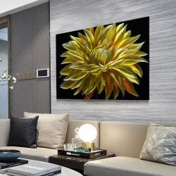 [يلّوو غلد] أقحوان زهرة زهرة [3د] معدن [أيل بينتينغ] حديثة جدار باع بالجملة فنيات