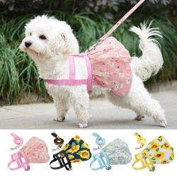 작은 강아지 고양이 의복 하네스 래쉬 조정가능 꽃 인쇄본 애완동물 반입 소 중형 개를 위한 조끼 드레스 치와와