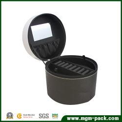Cuadro de cosméticos de joyas de cuero redondo con dos capas