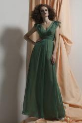 Mesdames paillette V-décolleté robes de soirée en mousseline (5427)