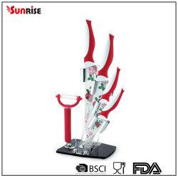 Ustensiles de cuisine Ensemble de 6PCS Revêtement Non-Stick couteau avec bloc acrylique (KSE082)