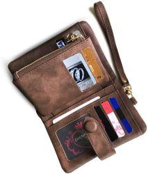 帯出登録者IDのWindowsの硬貨の財布(ブラウン)が付いている女性Wristletを妨げる女性の小さいBifold革札入れRFID