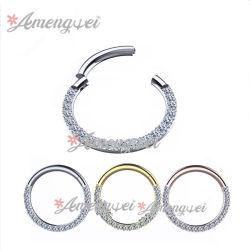 2020 Multifunctionele Ring van Clickcer van het Segment van de Ring van de Hoepel van de Neus van de Ring 3AAA van het Segment van het Lichaam van de Juwelen van het Roestvrij staal van de Juwelen van de Manier 316L de Doordringende Juwelen Scharnierende CZ Bedekte