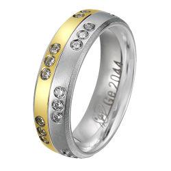 Anello di titanio placcato oro operato di disegno con la CZ o pietre del diamante per l'anello delle signore