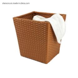 Mand van de Hoek van de Wasserij van de Opslag van de Doek van de Badkamers van het Hotel van de Rotan van Shenone de Goedkope Plastic Wevende Vierkante Vuile