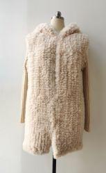 여자의 형식 가짜 모피 니트 소매를 가진 Handmade Hoodie 겨울 재킷
