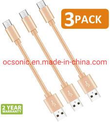 短いマイクロUSBケーブル8インチ外部充電器のためののためのナイロン編みこみの速いUSBの充満コード