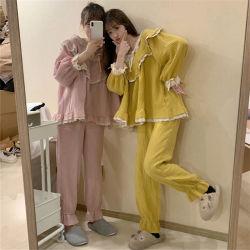 Süsses der Sprung-und Herbst-Frauen koreanisches und nettes Prinzessin Home Set nähende Pyjamas Sleevelace