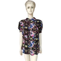 Lady nouvelle mode Mesdames de vêtements à manches courtes Tee-shirt décontracté d'impression noire de viscose de vêtements pour femmes
