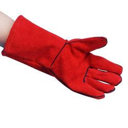 Усиленная красный промышленности Welted слой долго Термостойкий Split Cowhide кожаные работы пожарных сварки перчатки