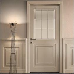 Dormitorio Panel de cristal templado columpio de madera maciza puerta con bisagras ocultas y moldura levantada