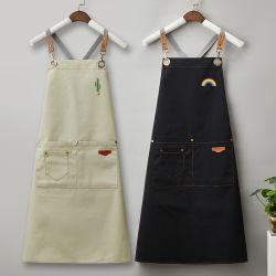Водонепроницаемый чехол из натуральной кожи Canvas кухня барбекю мужчин вышивка фартук для приготовления пищи