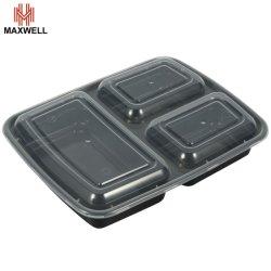 음식 포장 2-3개 객실 전자레인지에 사용 가능한 플라스틱 음식 용기 뚜껑