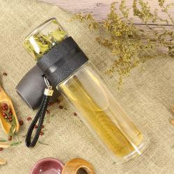 Doppel-wandiges Glas Isolierwasser-Flasche mit Eigenmarken-Tee-Wasser-Trennung-Filter-Tee-Cup