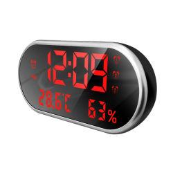 Vidrio espejo Reloj Despertador de luz LED azul de la noche el termómetro de la mesa digital reloj con doble cable USB