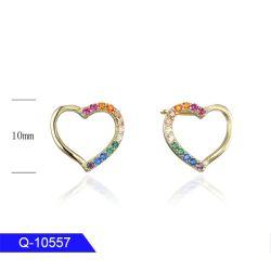 Новая конструкция персонализированные медных мода украшения кубических обедненной смеси шпилька сердце серьги для девочек