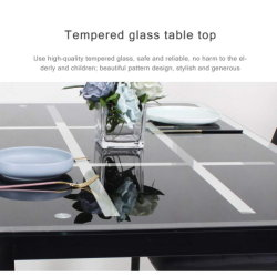 Cristal templado negro barato al por mayor de Muebles de Comedor mesa de comedor de vidrio revestimiento